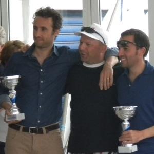 I vincitori Enrico Solerio e Sergio Simonetti col segretario Piazza